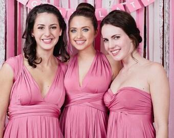 Dusty Rose Pink Bridesmaid Dress - Convertible Infinity Wrap