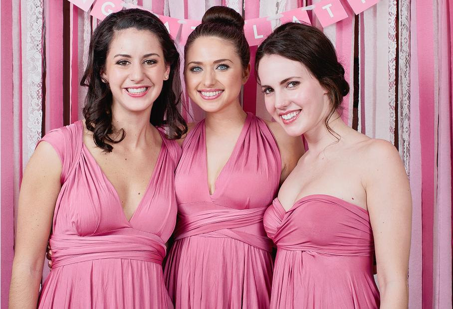 Rose Pink Bridesmaid Dress Convertible Infinity Wrap