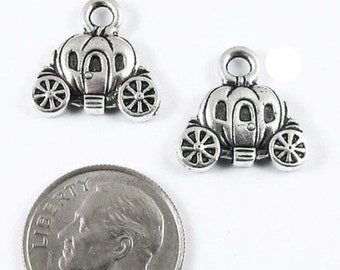TierraCast Pewter Charms-Antique Silver CARRIAGE (2)