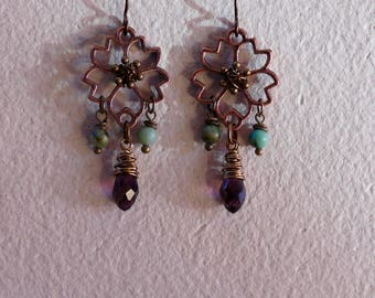 Copper flower with purple crystal, copper, earrings, copper flower, copper jewelry, copper and stone, copper and turquoise, copper earrings