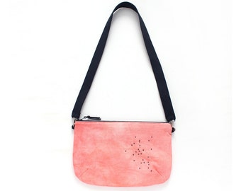 Coral pink dyed crossbody Bag