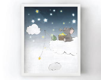 Star Fishing - Elephant Stars and Turtle Nursery Drawing, Clouds and Stars Kids Room Art Print