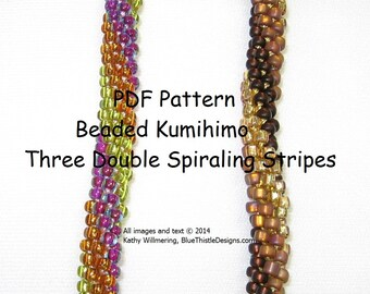 Triple-Double Stripe Beaded Kumihimo Pattern - PDF