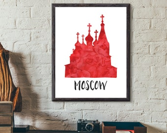 Moscow, Russia Watercolor Print - St. Basil's Cathedral