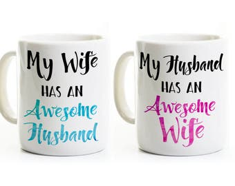 Funny Husband and Wife Coffee Mugs - AWESOME - His and Hers Mugs - Wedding Anniversary