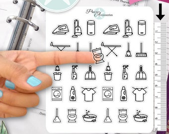 Clear Cleaning Stickers Household Stickers Cleaning Day Stickers Planner Stickers Erin Condren Functional Stickers Daily Chore Stickers 404