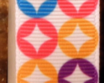"2 Yards 7/8"" Multicolor Starburst Print Grosgrain Ribbon"