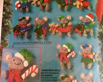 RARE vintage NEW sealed set of 12 Bucilla Christmas Mice ornament kit. From 1994