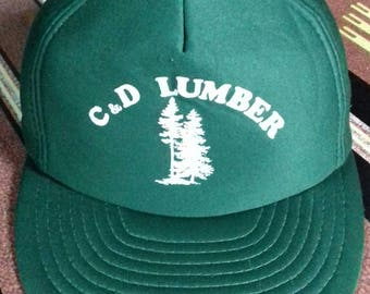 Rare vintage C&D Lumber cap one size fits all made in taiwan r.o.c plastic snap style
