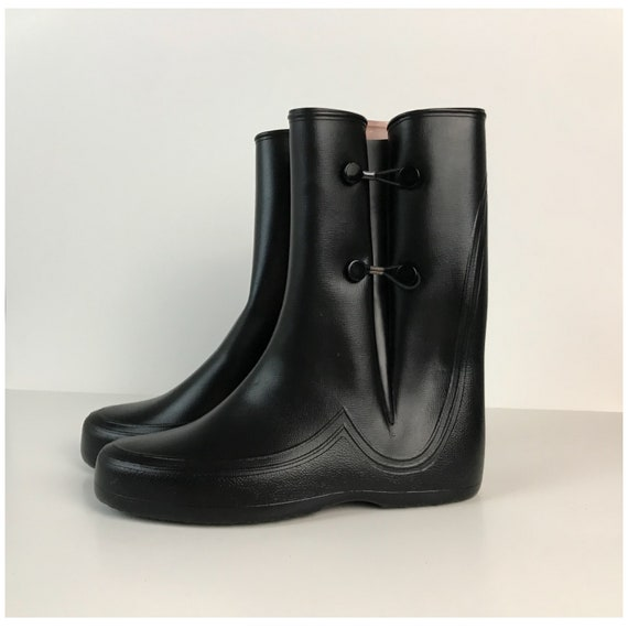 Galoshes GoGo USA 1960s Womens Boots Made Calf Wet in Mod Boots Rain Black Look Unworn Vinyl NOS Hipster 60s Mid Vintage 7 gwAZ85