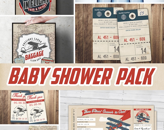 Precious Cargo party pack, Oh The Places You Will Go Baby Shower Invitation • vintage airplane invitation, travel theme, Digital files only