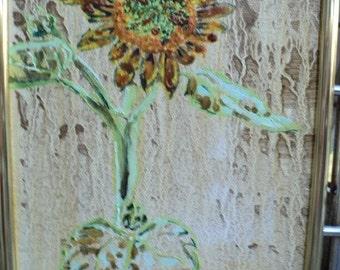 Small Oil Painting, Framed: sunflower