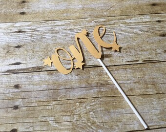 One Star Cake Topper- Star Cake Topper- Twinkle Twinkle Little Star - One Cake Topper - First Birthday - One Cupcake Topper - Stars -ONE -