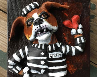 Valentines Day Dog Gift - Jailbird Hound Dog Art - OOAK Dog Art - Original Beagle Painting - Polymer Clay on Canvas - Gift for Dog Lover