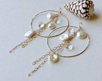 Keshi Pearl Dangle Earrings, Cornflake Pearl Hoops, Crystal Pearl Hoop Earrings, Extra Large Hoops Dangle