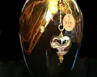Large Handcrafted Raku fired Porcelain Urn Forever Strong Love with matching Blown Glass Pendant, Pet Memorials, ashes in glass
