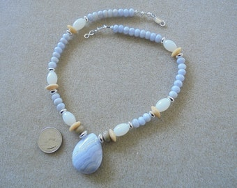 Pendant Necklace - Handmade - Blue Lace Agate, Lampwork Glass, Sterling Silver