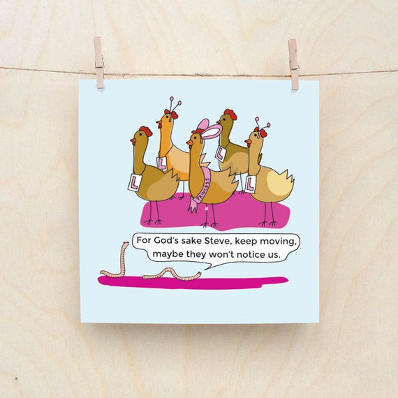 Hen party card, Funny Greetings card, Funny Good Luck Cards, Funny Birthday card, Funny Bird card