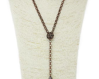 """MarcyTreasure Handmade Copper Rolo Chain """"Y"""" Necklace with a Crystal Teardrop Shape Wrapped Pendant"""