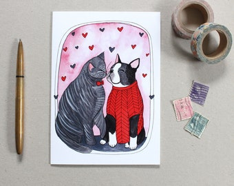 Love Card - Cat and Dog Love Card - Love Card - Friendship Card - Boston Terrier Card - Cat Card blank Card - Chloe and Clancy