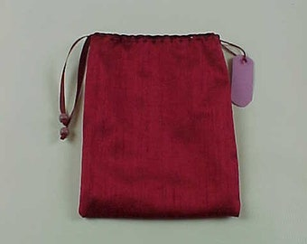 """Silk Tarot Bag, Gift Bag, Red, 6.5""""X5"""", Cotton Lining, Sturdy Drawstring Pouch, Ready To Ship, Treasure Bag, Medicine Pouch."""