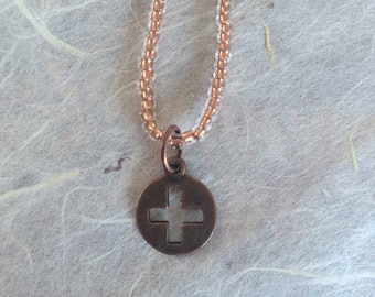 Crystal Copper Lined Beaded Necklace with Round Copper Square Cross Pendant