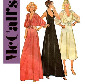 McCall's 6396 Womens 70s Stretch Prom Evening Maxi Dress & Shrug Vintage Sewing Pattern Size 8 Bust 31.5 inches UNCUT Factory Folded