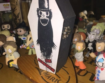 Wood coffin box, The Babadook keepsake box, Halloween decor, Horror