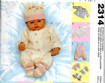 McCall's 2314       Baby Outfits    Size Preemie, Nb, Sm, Med      Uncut