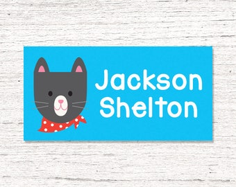 40 Waterproof Baby Bottle Labels - Dishwasher Safe - Sippy Cup Labels - Daycare School Name Labels -  Boy Kitty Cat Blue