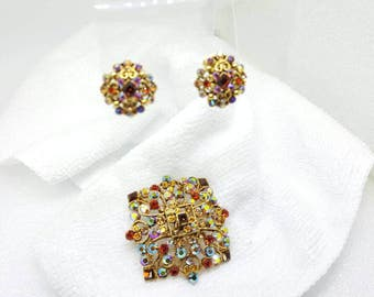 Joan Rivers Esquisite  Brooch and Lever back Clip earrings Shine and Style  Set Parure Auburn Tangerines