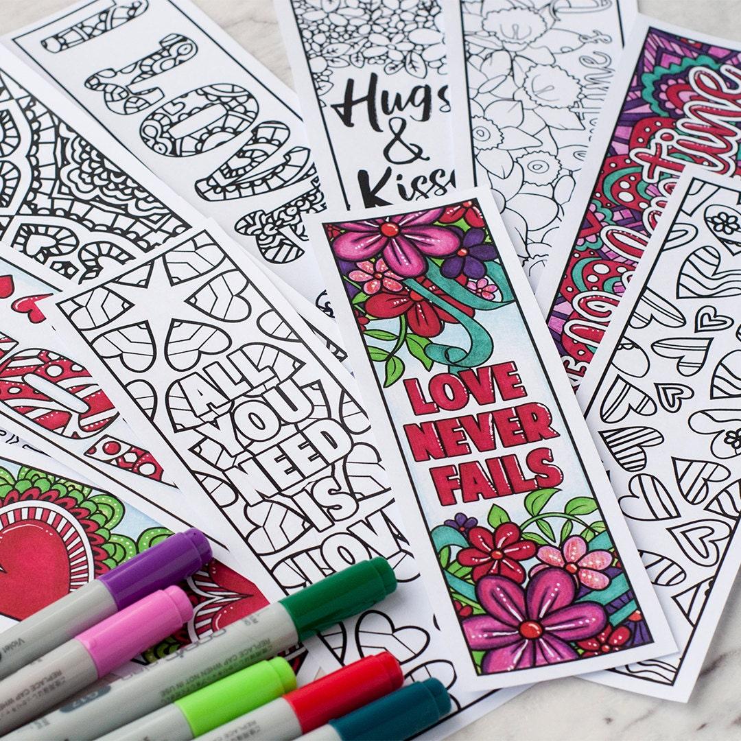 Liebe Färbung Lesezeichen-Set von 12 druckbaren Lesezeichen