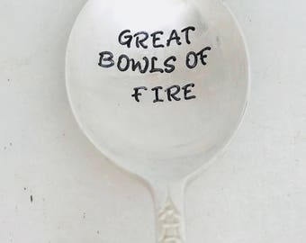Handstamped soup spoon,spoon for chili