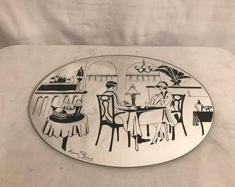 Mirror old SUZANNE PARIS drawing signed Vintage oval ice