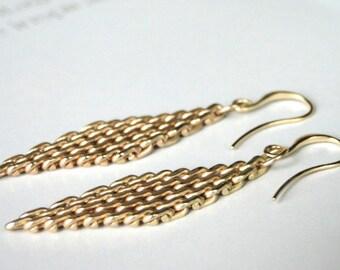UnChainMe Dangle Earrings / Matte Gold Mesh Earrings / Jewelry / Accessories / Gift for Her / Boho Chic Earrings