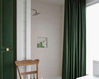 extra long shower curtain grey. Velvet Shower Curtain Green shower curtain Navy  Extra Long boho Etsy