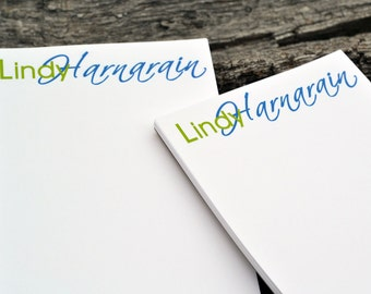 Personalized Notepads / Monogram Notepads / Set of 2 Fancy Script Design / Personalized Notebook / Personalized Journal / Note Pads