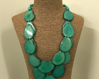 Tagua nut jewelry- bead necklace. Eco Friendly- Green