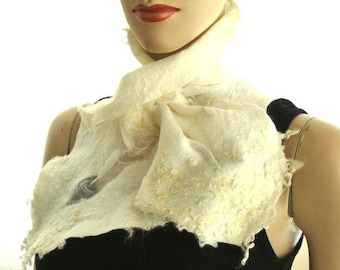 Clothing gift Nuno felted scarf, wool and silk collar, small white scarf,