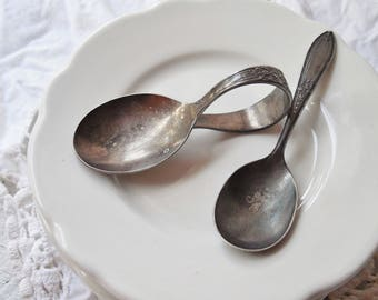Two Ornate Silver Baby Spoons ~ Vintage Bent Loop Handle, Wm. Rogers Eagle & Star Toddler Spoon, Baby Shower Decor /0661