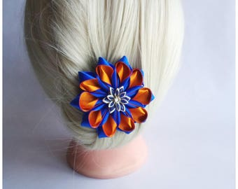 Satin Flower Hairclip/Hairclip with blue and orange Kanzashi Flower/Satin Hair accessory/Up to 160 Custom Colors