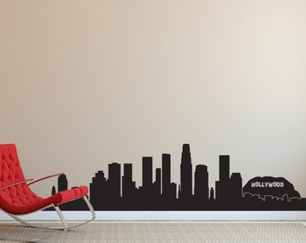 Los Angeles LA Hollywood City Skyline Silhouette  - Wall Decal Custom Vinyl Art Stickers