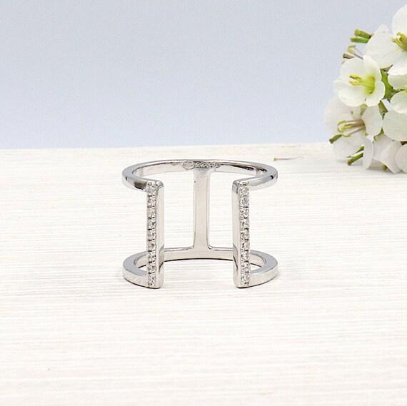 Silver ring 925 cubic zirconia bar