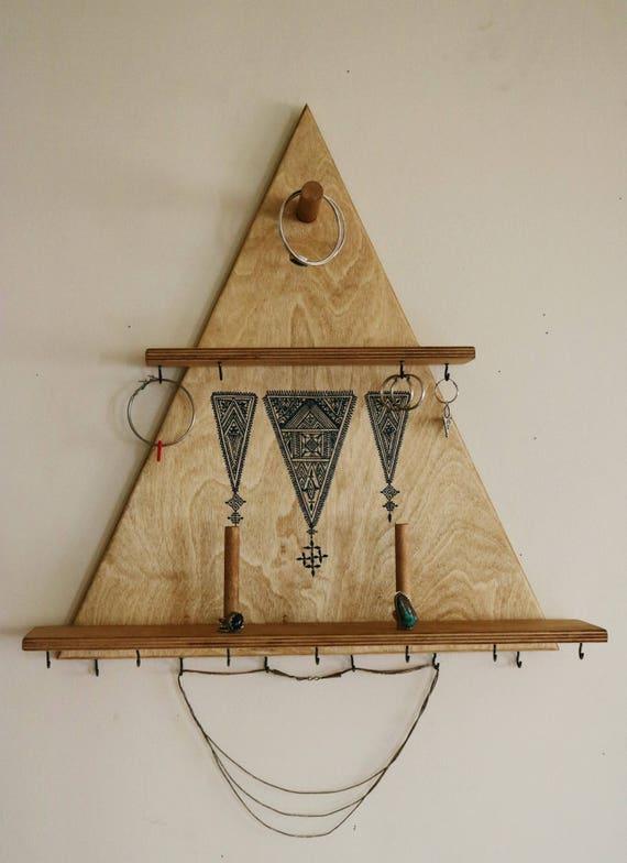 jewelry wall display wooden shelf jewelry organizer wall