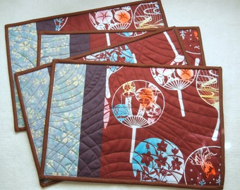 Quilted placemats - Fan (02) - set of 4