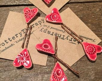 Handmade pottery heart bobbie pins, hair pins