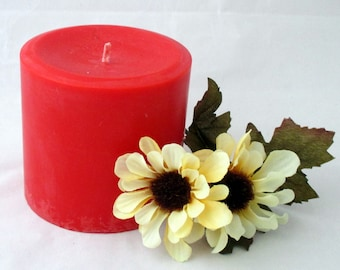 Strawberry Candle, 3x3 pillar candle, soy pillar candle, christmas candle, wedding candle, handmade candle, scented soy candle