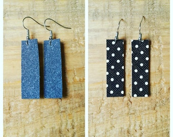 Faux Leather and Suede Bar Earrings
