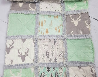 mint and grey baby quilt - mint and grey crib bedding - stag baby quilt - woodland baby quilt - mint baby quilt - deer baby quilt - quilt