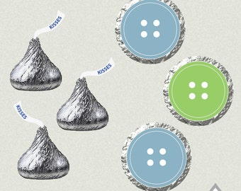 Hershey Kiss Labels, Cute as a Button, Sew Cute, Button Birthday, Button Baby Shower, Button Party, Printable Kiss Labels, DIY Kiss Stickers